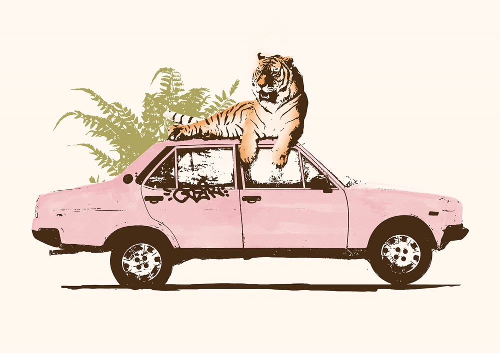 <dive><h1>Tiger on Car</h1></dive>